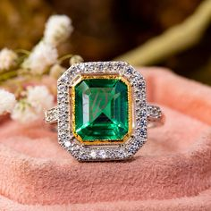Green Emerald Cut Two Tone Vintage Edwardian Engagement Ring - Estate Antique Wedding Ring For Wife - Halo Set Birthstone Diamond Ring by DiamondJewels99 on Etsy Emerald Diamond, Emerald Cut, Emerald Green, Diamond Jewelry, Diamond Cuts, Halo Setting, Antique Wedding Rings, Vintage Rings, Engagement Rings