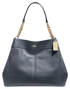 3b19196c8afd Phoebe Lexy Chain Pebble 27594 F28998 Midnight Blue Leather Shoulder Bag