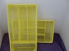 Vintage Utensil Holder Plastic Yellow Utensil by joansfinds