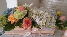 Hydrangeas, Carnations and Roses Table decoration Hydrangeas, Carnations, Floral Wreath, Roses, Wreaths, Table Decorations, Flowers, Home Decor, Floral Crown