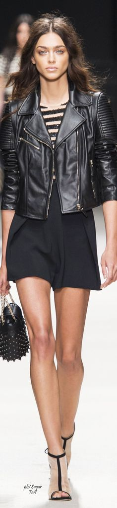 Elisabetta Franchi Spring 2016 ....black leather cropped biker jacket with a sequined striped boy's T.