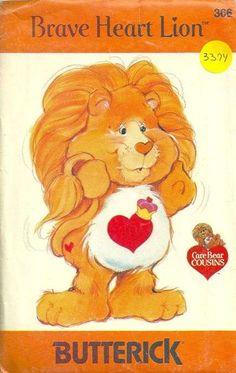 Brave Heart Lion Care Bears Pattern Butterick 3374 Vintage 80s.