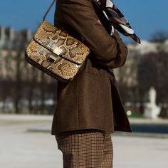 On the Street…..The Mix, Paris « The Sartorialist_ Scarf-ing with Snake print and Plaid