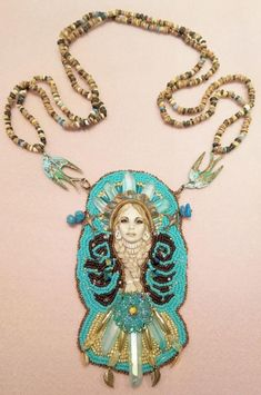 Another Laura Mears porcelain artwork as the basis for a stunning beaded necklace with Aqua Aura and Citrine and seed beads and metals Bead Embroidery Jewelry, Beaded Embroidery, Beaded Jewelry, Beaded Necklace, Pendant Necklace, Beautiful Birds, Diy Fashion, Turquoise Necklace, Jewelry Making