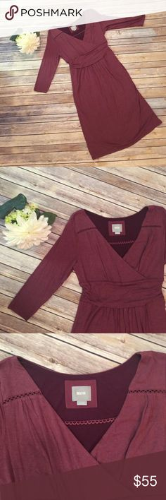 """Anthropologie Maeve Maroon Dress Beautiful maroon Anthropologie Maeve dress.  3/4 Sleeves.  In excellent condition!  Bust 36"""" Waist 30"""" Length 41"""" Anthropologie Dresses"""