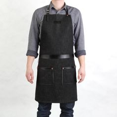 Horror butcher apron front - Upcycled from waxed canvas and leather