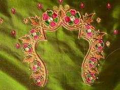 B South Indian Blouse Designs, Hand Embroidery, Embroidery Designs, Anarkali, Saree, Aari Work Blouse, Maggam Work Designs, Kutch Work, Blouse Models
