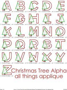 Christmas Tree Applqique Alphabet Designs 26 by allthingsapplique