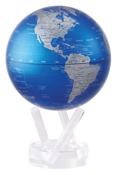 Cobalt Blue and Silver MOVA Globe: deep cool blue and metallic silver map. Powerful composition reminiscent of precious metals, perfect for home decor.