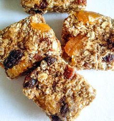 apricot pecan granola bars (vegan) - http://sallysbakingaddiction.com -   2.5 cups old-fashioned rolled oats (not instant); 1/4 cup peanut butter;   1 large mashed banana; 1 cup chopped toasted pecans; 1/3 cup chopped apricots; 1/3 cup raisins; 2/3 cup maple syrup; 1 tsp cinnamon