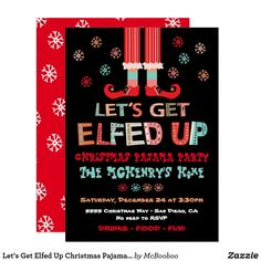 Let's Get Elfed Up Christmas Pajama Party Invitation Christmas Pajama Party, Christmas Cocktail Party, Christmas Cocktails, Christmas Pajamas, Christmas Humor, Holiday Parties, Holiday Cards, Custom Invitations, Invitation Design