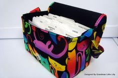 Super Size Coupon Organizer Box Holder  With Strap Attaches to Your Shopping Cart  Colorfull Cats by GrandmasLittleLilly on Etsy