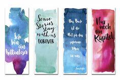 Watercolor bookmarks, bookmark, Lesezeichen-Set 4-teilig Aquarell Lesezeichen