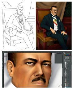 Una ilustración digital del Presiente Mexicano Plutarco Elias Digital Illustration, Mexican