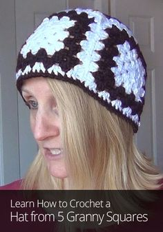 Crochet a Hat from 5 Granny Squares dress for size 4-6 hoodies 2 tone ae648c476e