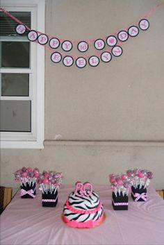 zebra and hot pink cake w/ cake pops