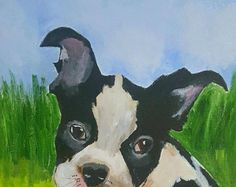 Clearance - Acrylic painting - Boston Terrier