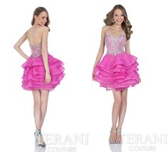 Terani Couture Prom 2016 Style: 1611P0127 #prom #promdress #pink #shortdress #straplessdress #beadedtop #prom2016 #prom2k16 #shortpromgown #promgown #terani #teranicouture