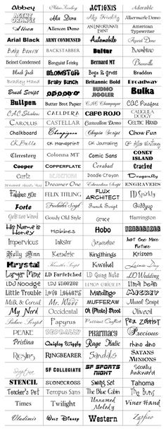 Click to enlarge...         I have over 1400 fonts available! If you would like a font that you don't see here, just comment or contact me...