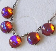 Art Deco Beautiful RARE Dragons Breath Saphiret Jelly Opal Silver Necklace