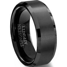 Brushed Black Tungsten Ring ...