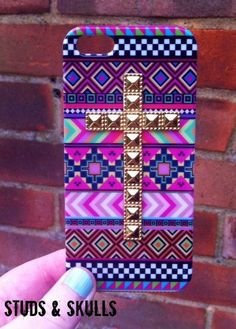 Pink Aztec Tribal Gold Cross Studded Matte iPhone 4 4S Phone Case. £11.00, via Etsy.
