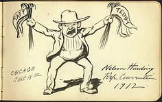 Citation: Nelson Harding depicting the division of the Republican party during the Convention of 1912, 1912 . James David Preston illustrated autograph book, Archives of American Art, Smithsonian Institution.