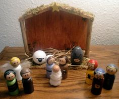 Painted wood peg people nativity set I made (currently for sale on Etsy - $69.99 - click on link)