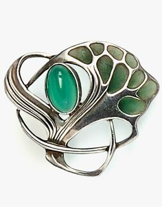 Jugendstil Silver and Plique-a-Jour Enamel Brooch, Theodor Fahrner, with dyed green chalcedony cabochon and plique-a-jour enamel, lg. 1 1/4 in., maker's mark.