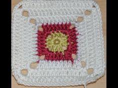 вязание крючком плед - квадрат 10 / crochet a throw blanket square 10 - YouTube