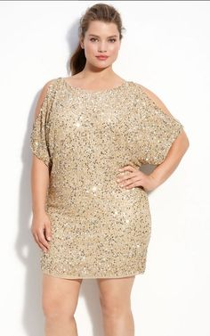 Aidan Mattox Sequin Cold Shoulder Dress (Plus) available at ...