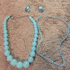 Blue necklace and earring combo Casual beaded necklace, chunky light blue necklace, and a pair of earrings that will go with either! Jewelry Necklaces