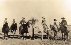 Arizona Rangers Pvt. Sam Hayhurst, Sgt. Art Hopkins and Capt. Tom Rynning (from left) meet with the legendary Col. Emilio Kosterlitzky (on white horse), the iron-fisted leader of the Mexican Rurales, and two unidentified Rurales. The Rangers and Rurales often assisted each other in the apprehension of border bandits in an informal manner that avoided diplomatic red tape.