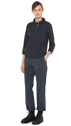 AUTUMN WINTER 14 - Dark navy cotton rugby shirt (MHL), navy cotton trouser (MHL), charcoal wool sock (MHL), black leather boot (MHL)
