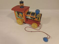 FISHER PRICE 616 VINTAGE CHUGGY POP-UP LOCO PULL TOY #X2174 #FisherPrice