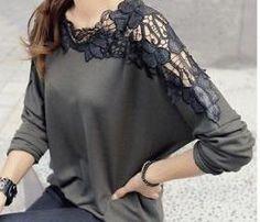 Fashion Ladies Womens Chiffon Lace Tops Long Batwing Sleeve Shirt Casual Blouse