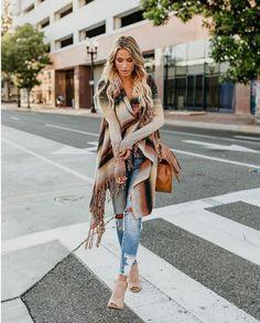 Women Midi Cardigan Autumn Striped Knitted Casual Coat Female Loose Jumper Elegant Women's Clothing Winter Shrug Tassel Sweater - Miss. Boho Fashion, Autumn Fashion, Fashion Outfits, Hippie Outfits, Winter Outfits, Summer Outfits, Estilo Boho Chic, Boho Chic Style, Coats For Women