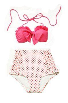 Pink Bow Top and White Red Polka dot dots High waist waisted Bottom Vintage Swimsuit Swimwear Bikini Swimsuits Bathing Bath Swim suit  S M L