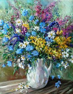 "Oil Painting with Flowers | Картина маслом ""Июль. Букет с цикорием и ромашками"" — работа дня на Ярмарке Мастеров"