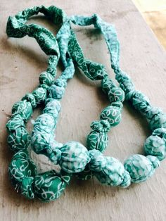 Teething necklaces wooden beads and fabric turquoise mint