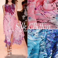 PrintedSilk Chiffon made of 100% mulberry silk. Delicate, soft, gauzy, flowy, whimsical and comfortable. Ship worldwide from Hong Kong.  ▼▲ DISCOUNT
