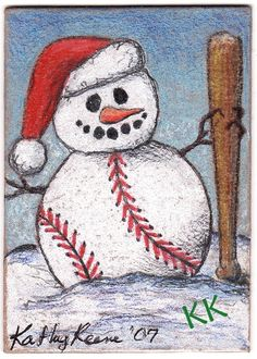 Baseball Snowman - I'm ready for Spring!
