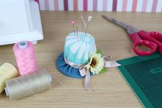 Beautiful little handmade hat pincushion with ribbon and flower. Made from cotton fabric, with floral print and stuffed with a polyester filling. Sewing Accessories, Pin Cushions, My Etsy Shop, Unique Jewelry, Handmade Gifts, Check, Kid Craft Gifts, Craft Gifts, Costume Jewelry