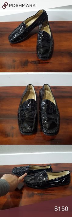 Women's black Tod's loafers, size 6.5 Women's black Tod's loafers/ driving shoes.  Over all good condition.  There is some dust in the crevices of the folds in the shoe that hard hard to clean.  Italian made.  EU Size 36.5, US size 6.5  Tod's Gommino Driving Shoes Tod's Shoes Flats & Loafers