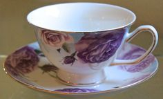GRACE'S TEAWARE TEACUP & SAUCER SET PURPLE ROSE VINE GOLD RIM PORCELAIN NEW  | eBay