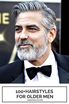 This is what all men dream of looking like when they get old. George Clooney look so stylish with a simple Executive haircut mixed with messy styling and a natural beard.  #menhaircuts #celebrityhairstyles #oldermenhaircuts #oldermenhairstyles #georgeclooneyhairstyle #menhairstyles #manhaircuts Retro Mens Hairstyles, Best Hairstyles For Older Men, Older Men Haircuts, Guy Haircuts Long, Gray Hairstyles, Long Layered Haircuts, Classic Hairstyles, Celebrity Hairstyles, Grey White Hair