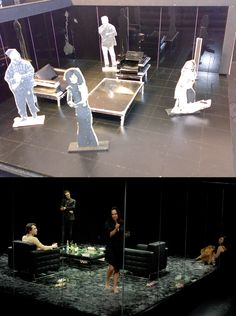 Before and after. Set model to real set i Benedict Andrews' Who's Afraid of Virginia Woolf at Belvoir. http://www.belvoir.com.au/everybreath