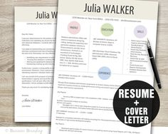 Designer Resume Template - Cover Letter Template - Instant Download Resume Template Word