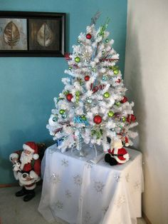 Fun & Funky Christmas Tree, 4' white Christmas tree with red, lime ...
