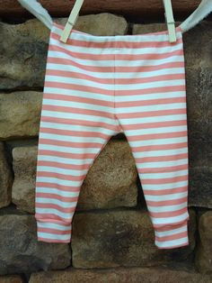Pink and white stripe Baby leggings, infant leggings, organic cotton leggings, printed leggings